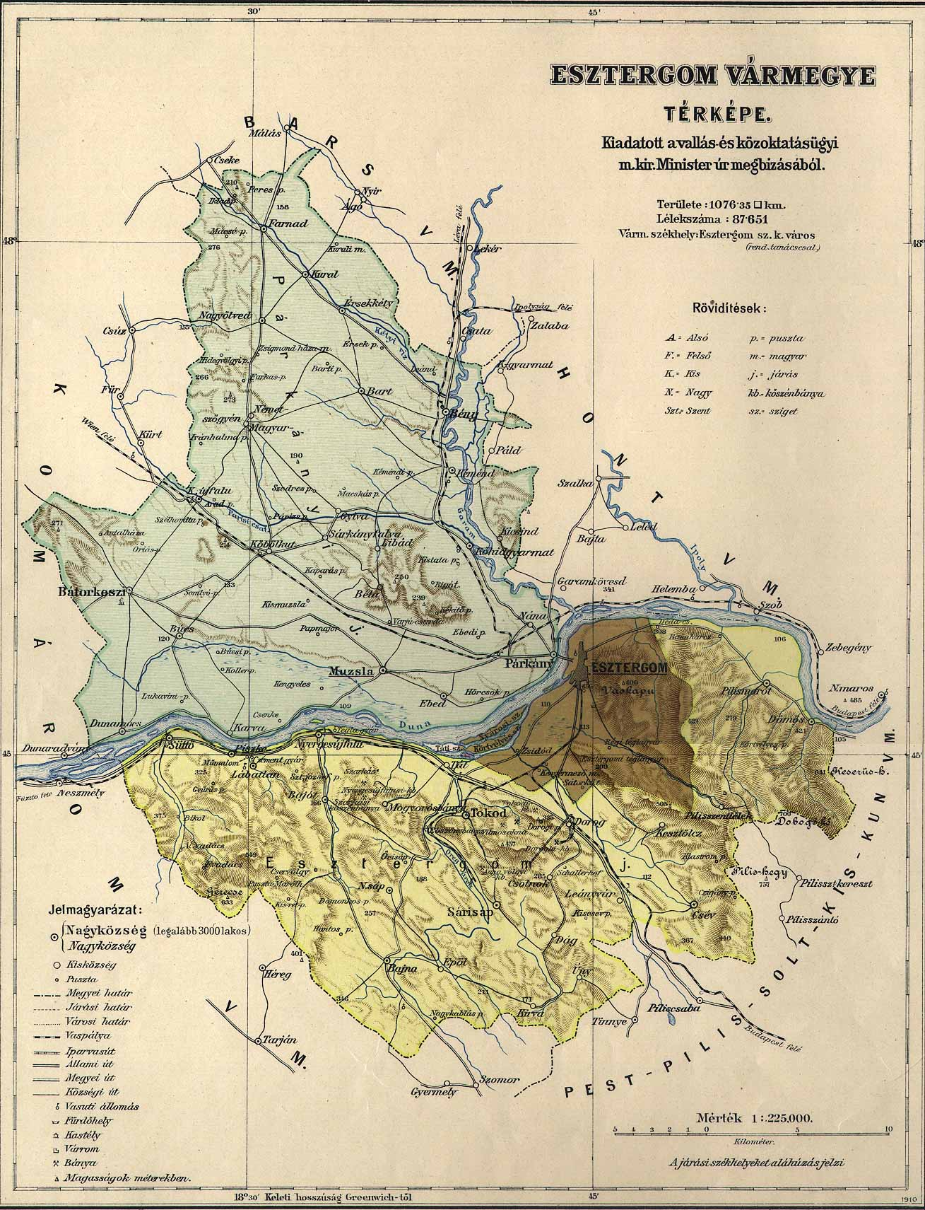 maps térkép Osztrák Magyar Monarchia varmegyei (1910)