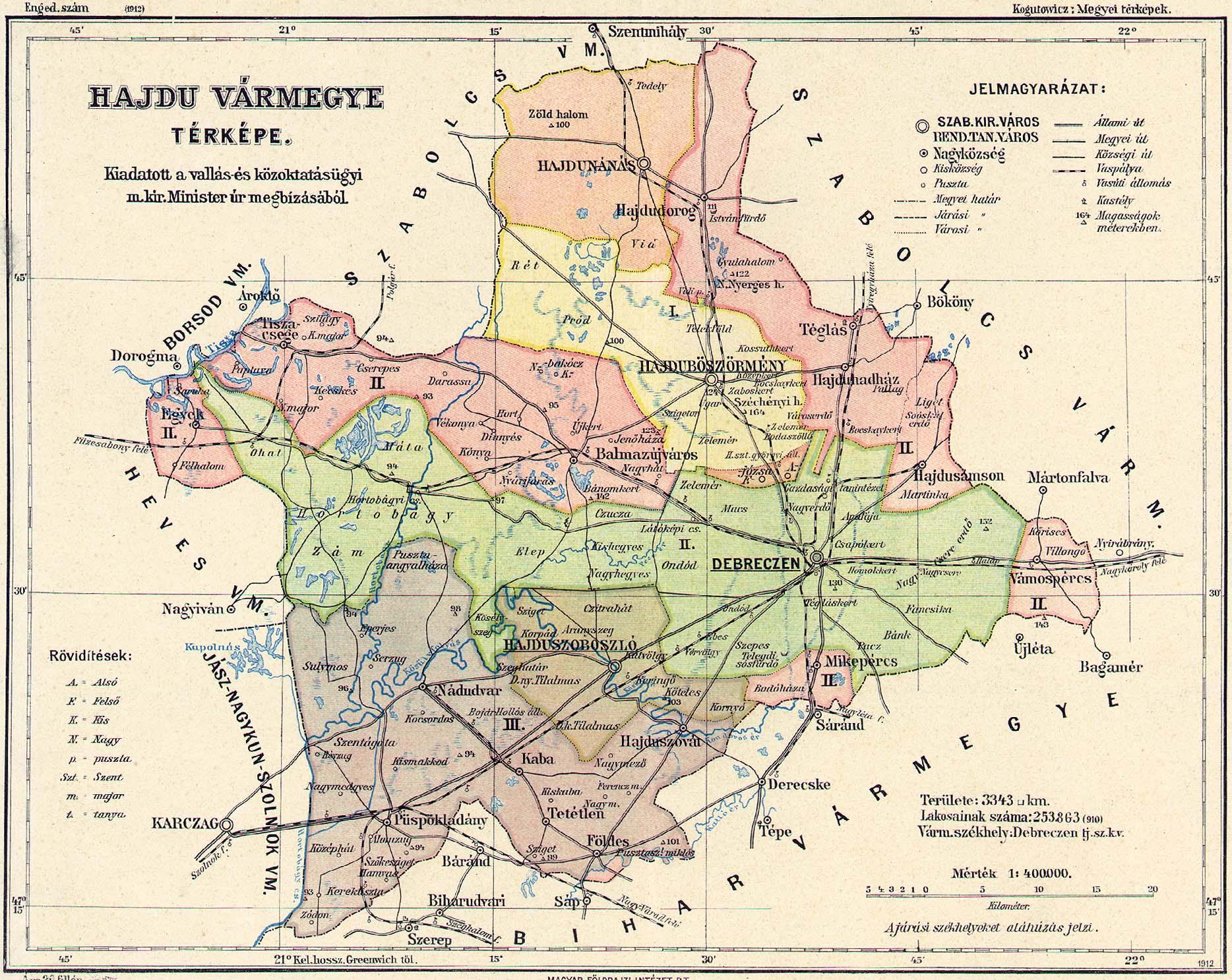 derecske térkép Osztrák Magyar Monarchia varmegyei (1910) derecske térkép